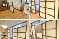 The only Freestanding movable modular room divider with a built-in door used for residential and commercial space